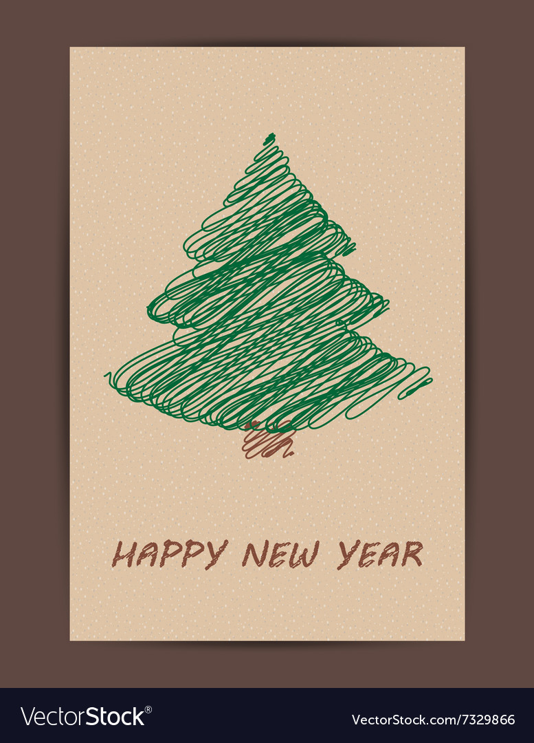 Creative Christmas tree card vector image