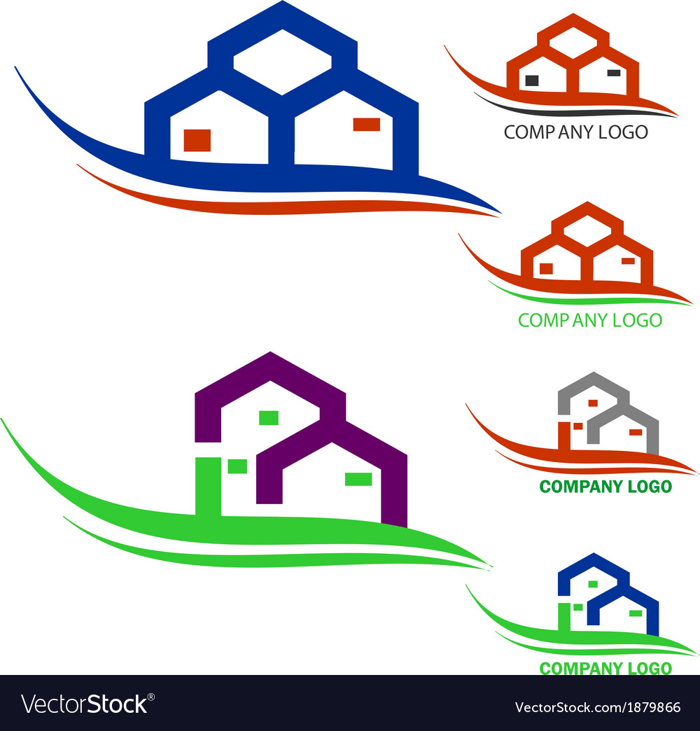 Real estate company logo vector image