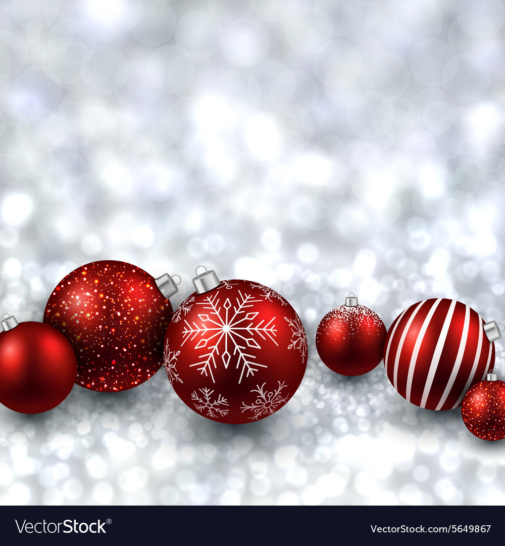 Silver background with red christmas balls Vector Image