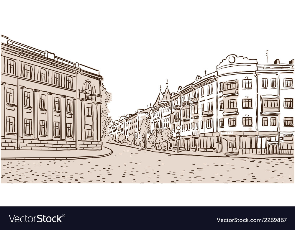 The ancient European street paved by a stone block vector image