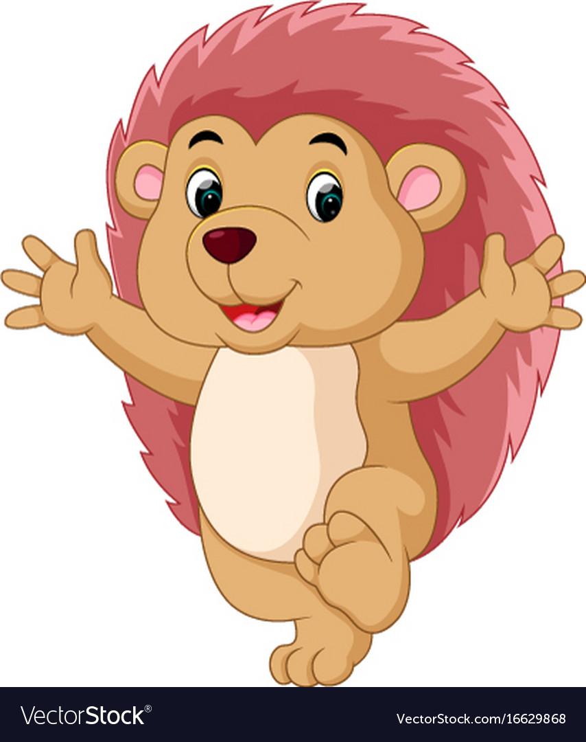 Happy hedgehog cartoon vector image