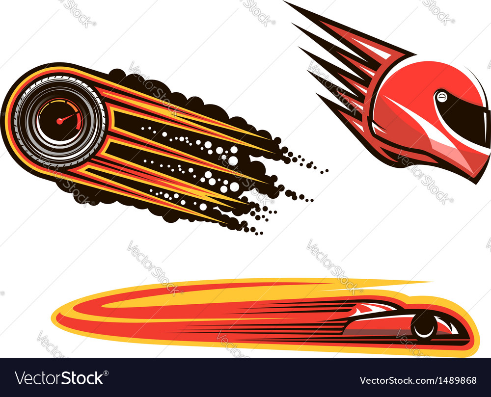 Racing sport elements and icons vector image