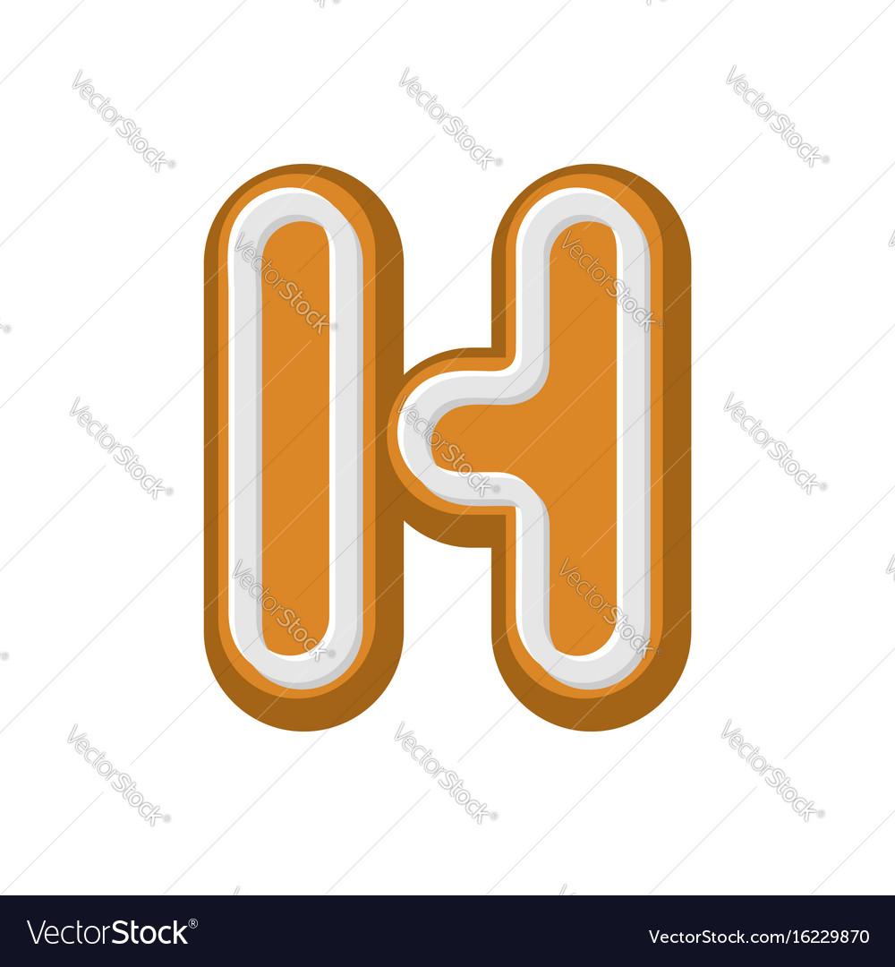 Letter h gingerbread peppermint honey-cake font vector image