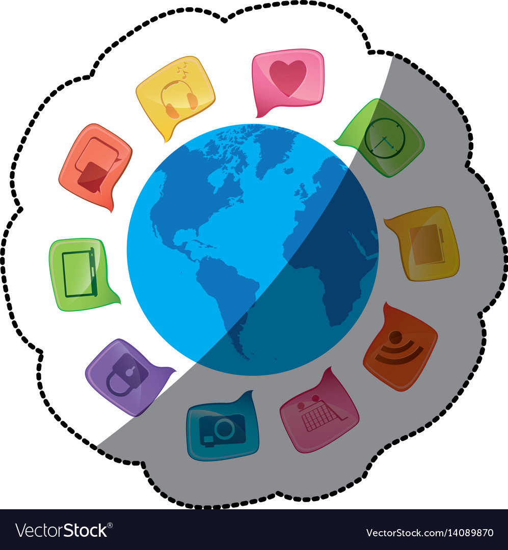 Sticker world map globe with dialogue social icons sticker world map globe with dialogue social icons vector image gumiabroncs Choice Image