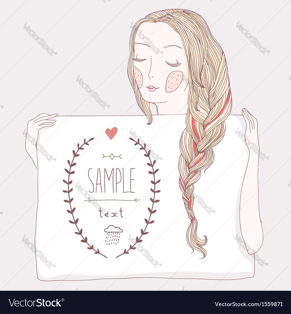 Girl plait banner vector image