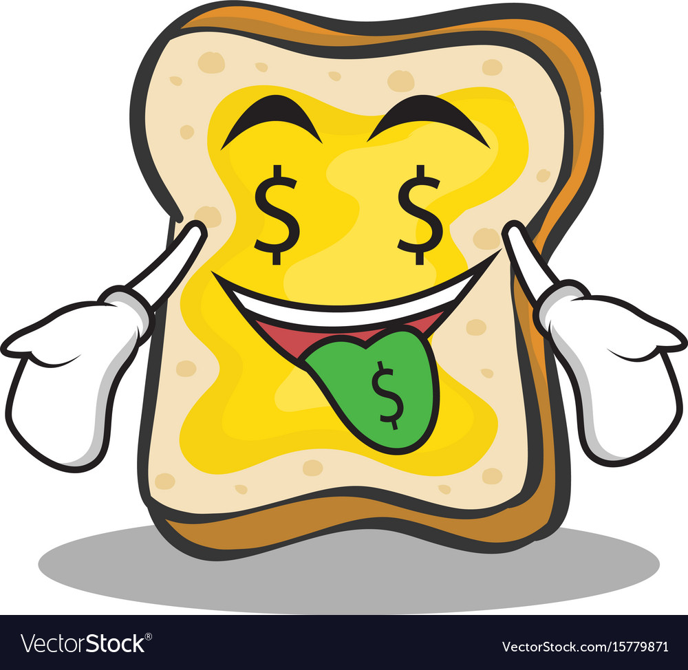 Money mouth face bread character cartoon vector image