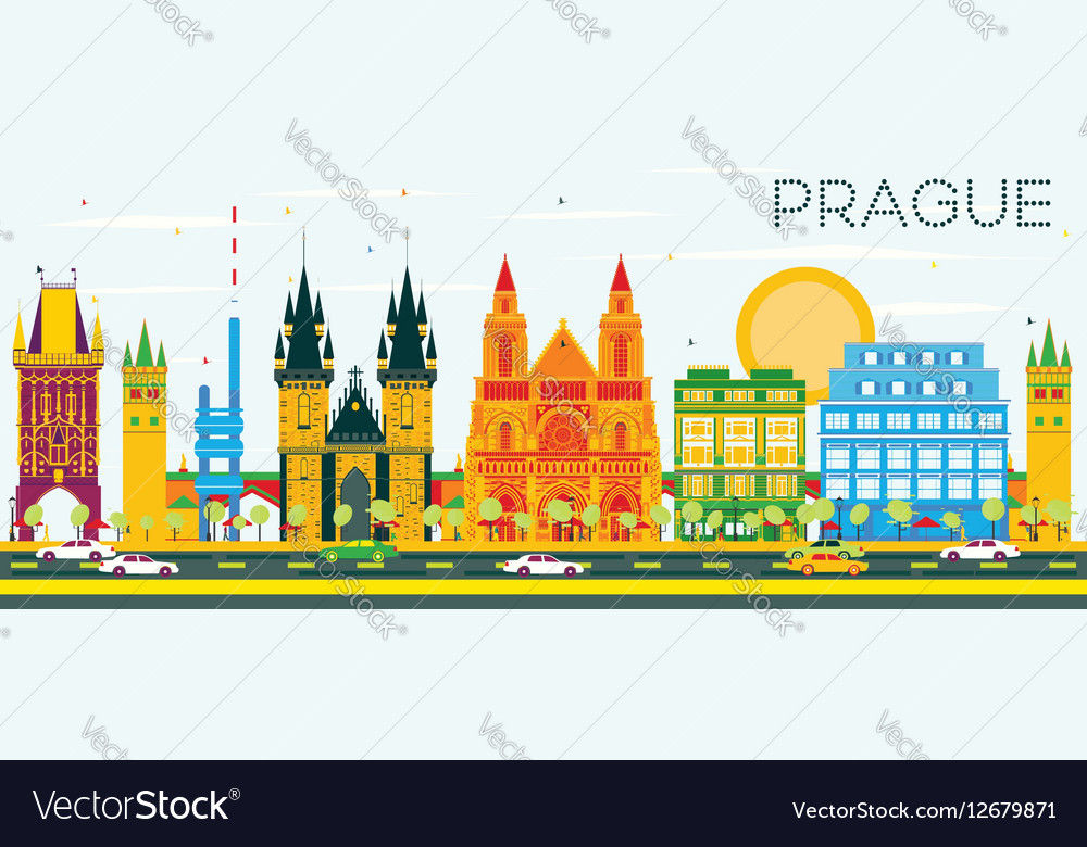 Prague Skyline with Color Buildings vector image