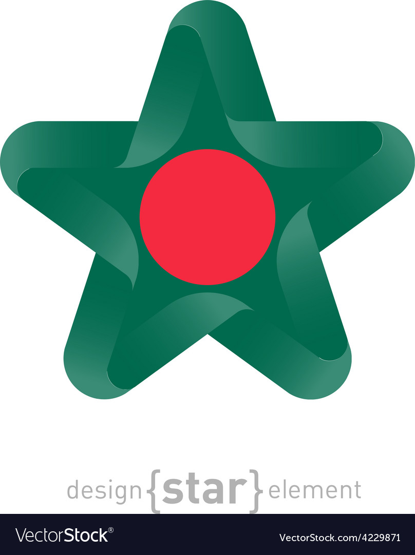 Star with bangladesh flag colors and symbols vector image biocorpaavc Choice Image