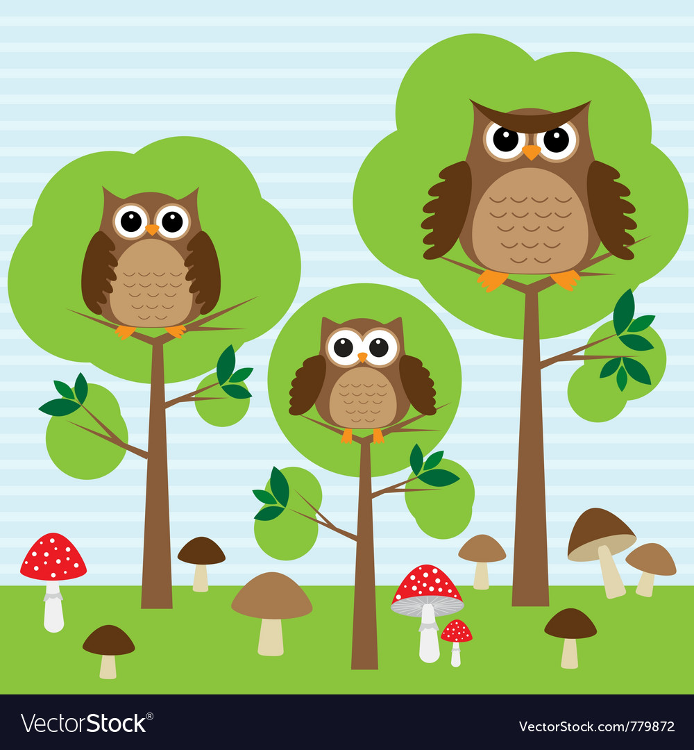 Cute family of owls in forest vector image