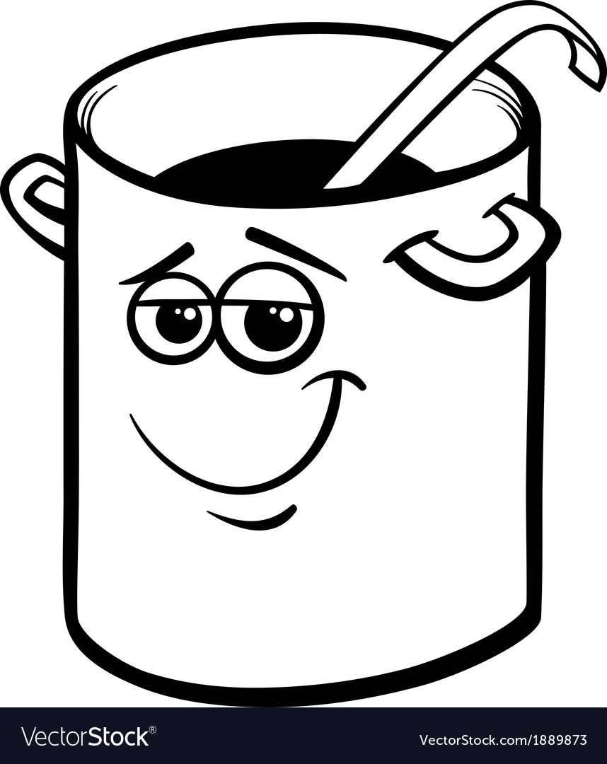 Pot or pan with ladle coloring page vector image