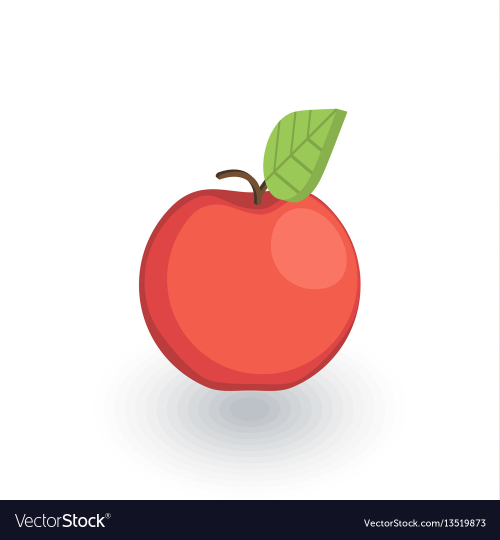 Red apple isometric flat icon 3d vector image