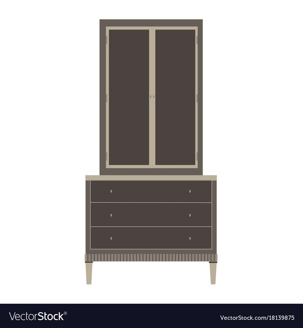 Wardrobe closet cupboard furniture isolated vector image