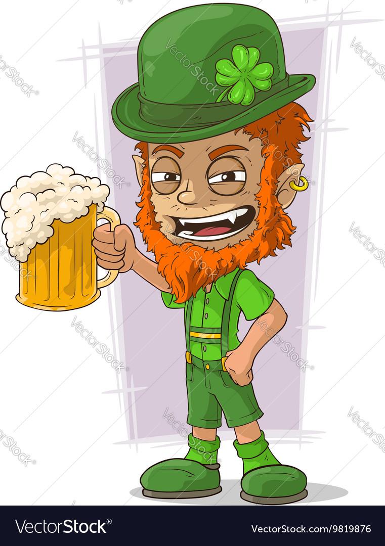 cartoon redhead bavarian leprechaun royalty free vector