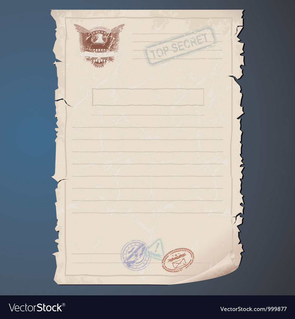 Old Top Secret Document vector image