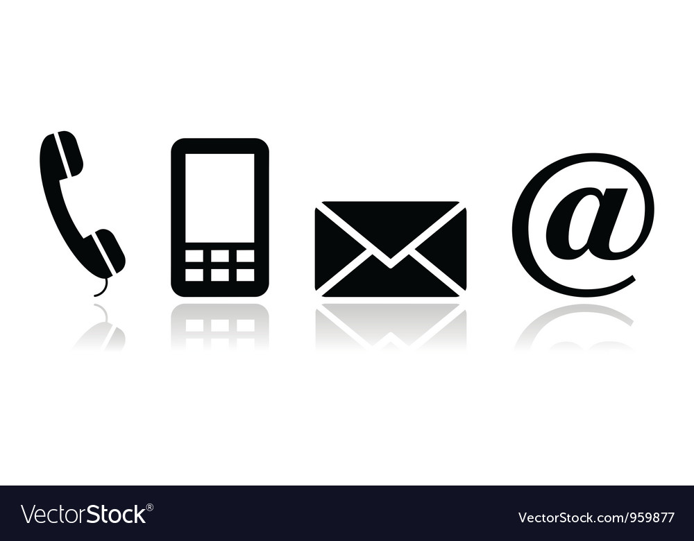 contact black icons set mobile phone email vector image