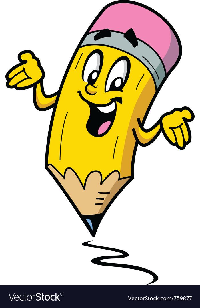 Happy smiling pencil guy vector image