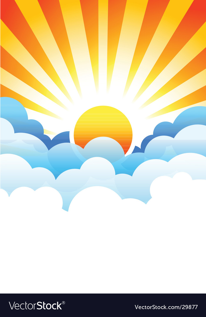 Sun rising in clouds vector image