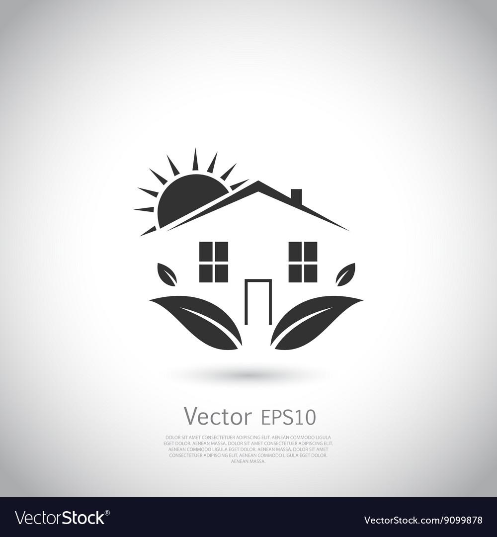 Green house logo Happy family icon eco lover vector image