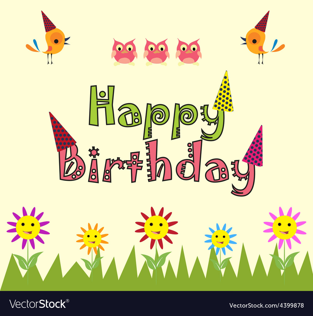 Happy birthday card background vector image