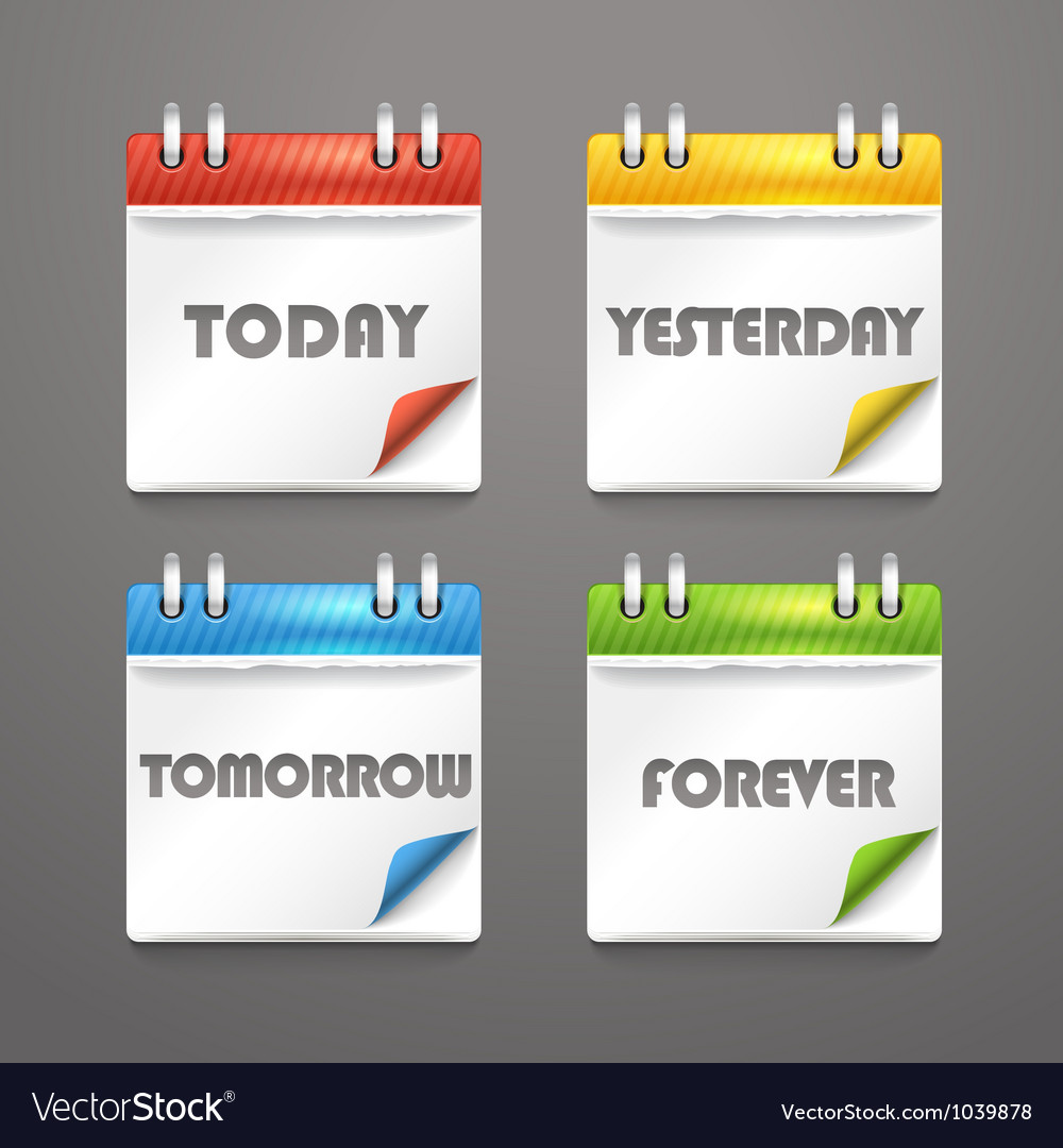 Paper diary icons with bended color corners vector image