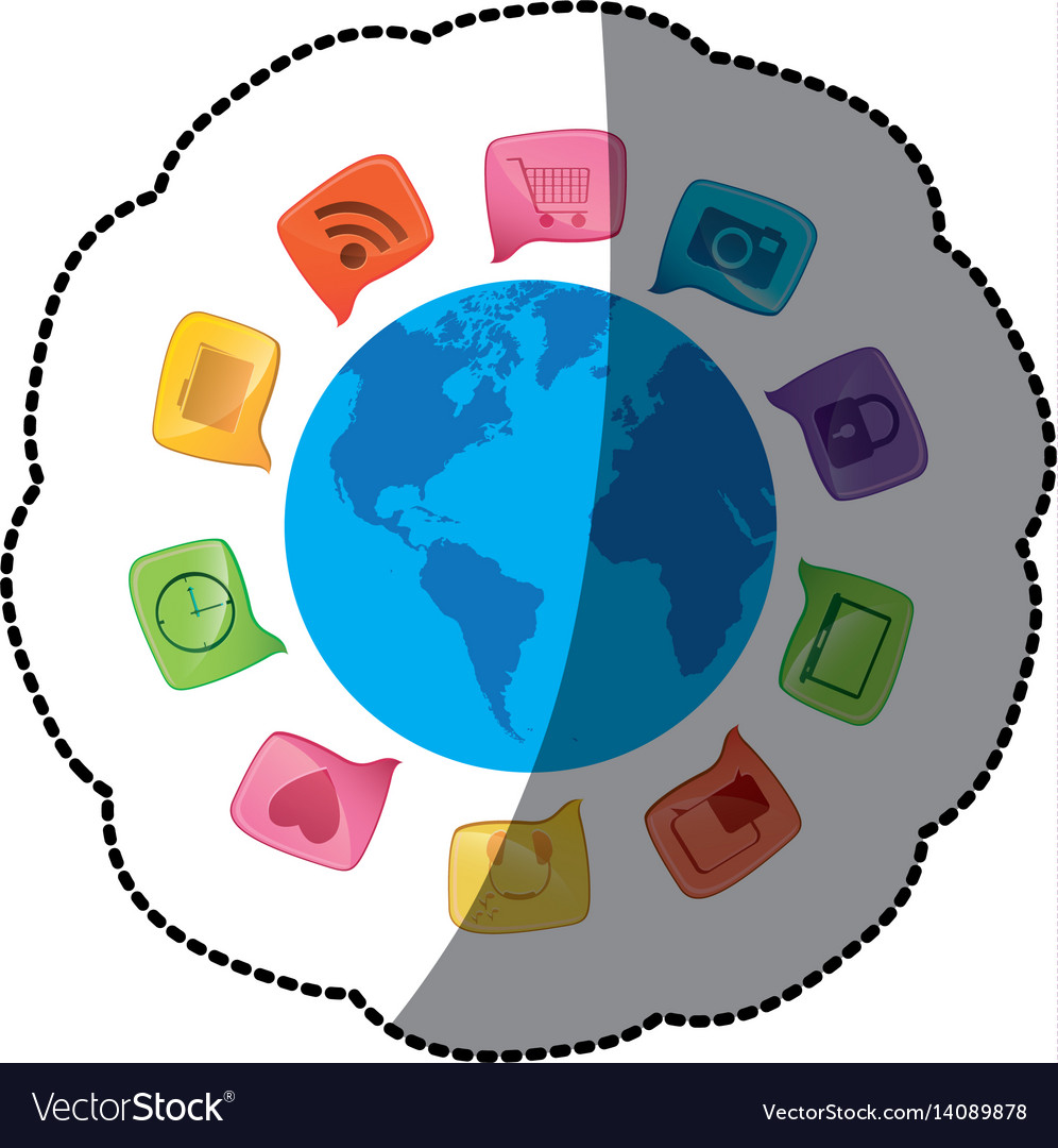 Sticker small world map globe with square dialogue sticker small world map globe with square dialogue vector image gumiabroncs Images