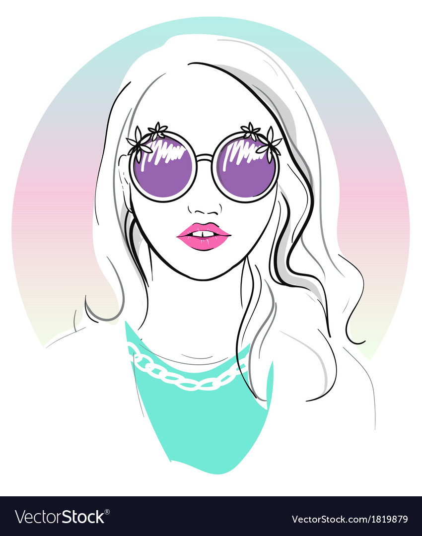 Cute young girl fashion vector image