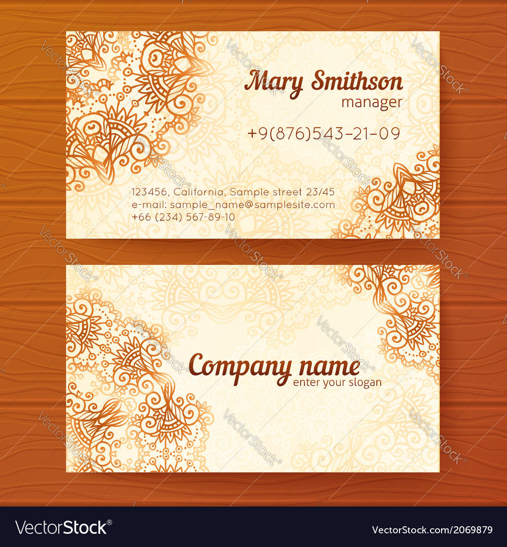 Ornate Vintage Business Cards Template Royalty Free Vector - Vintage business card template