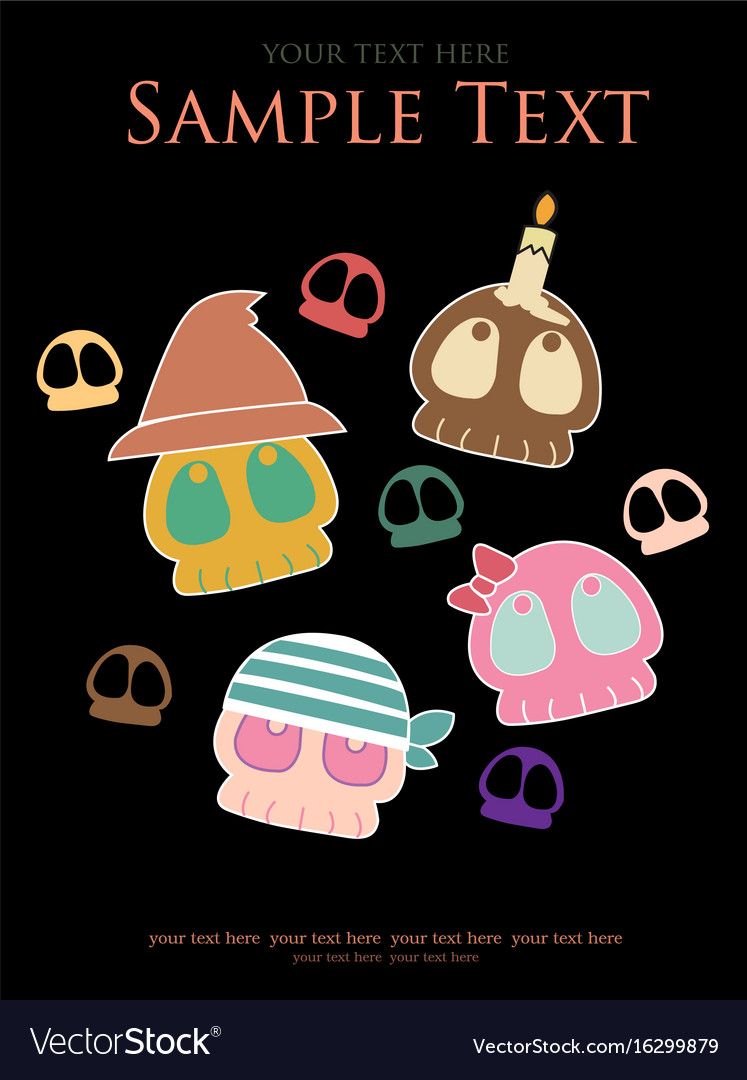 Various skulls cute halloween vector image