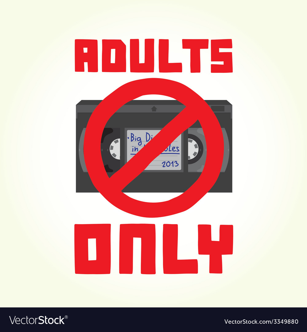 Adults only VHS cassette vector image
