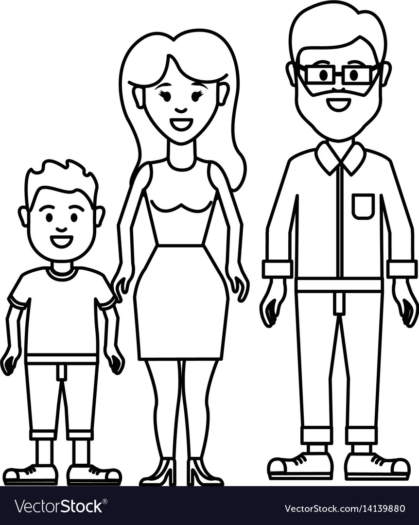 Figure couple with their son icon vector image