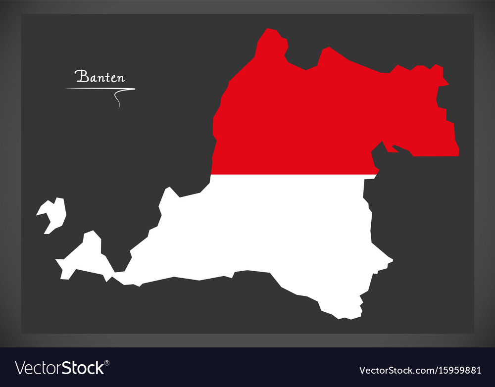 Banten indonesia map with indonesian national flag vector image