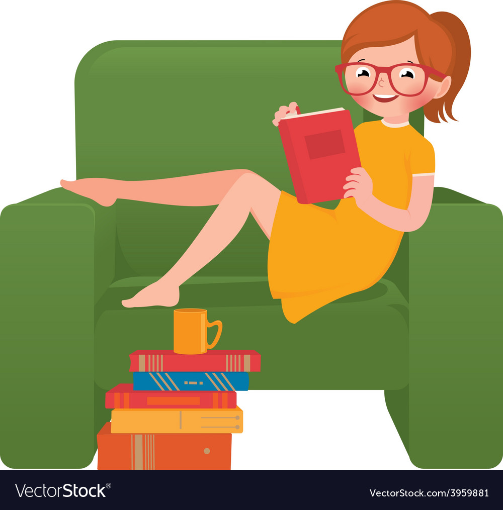 Girl reading a book sitting in a chair vector image