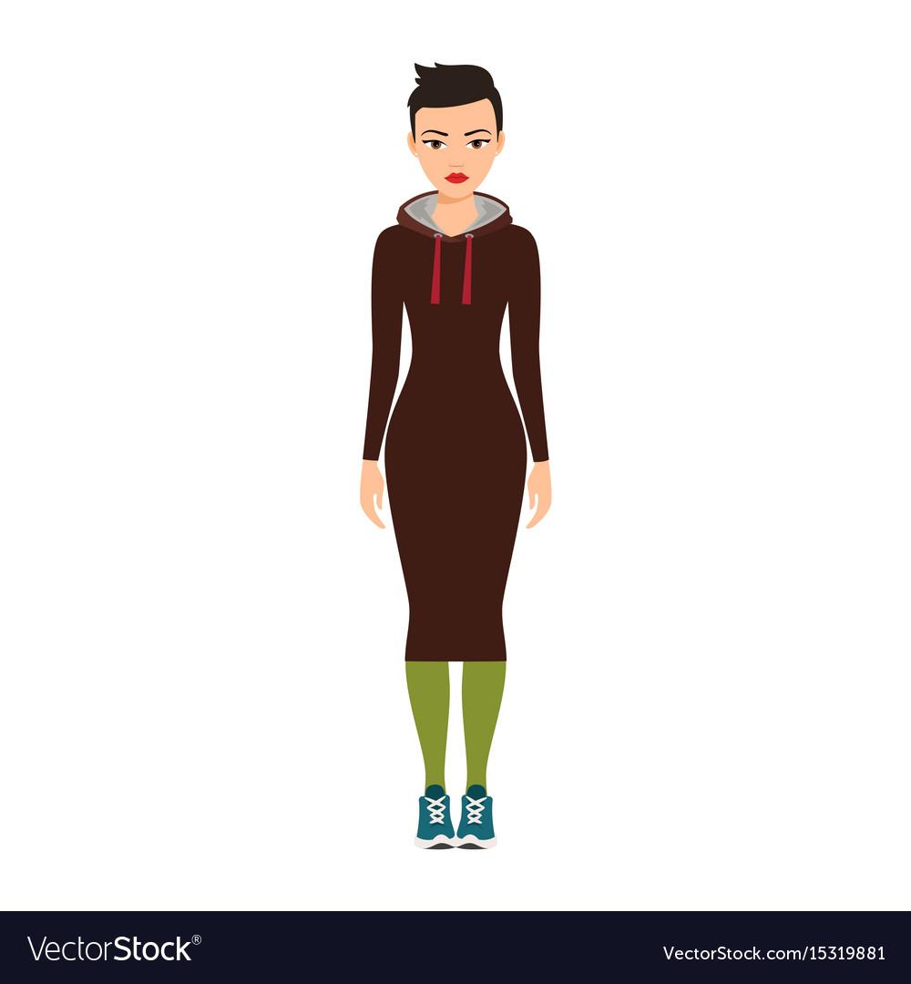 Short haired girl in long dress vector image