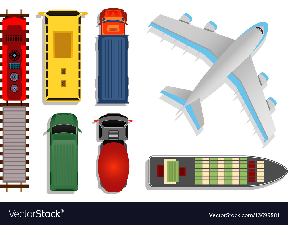 Top view transport cargo vector image