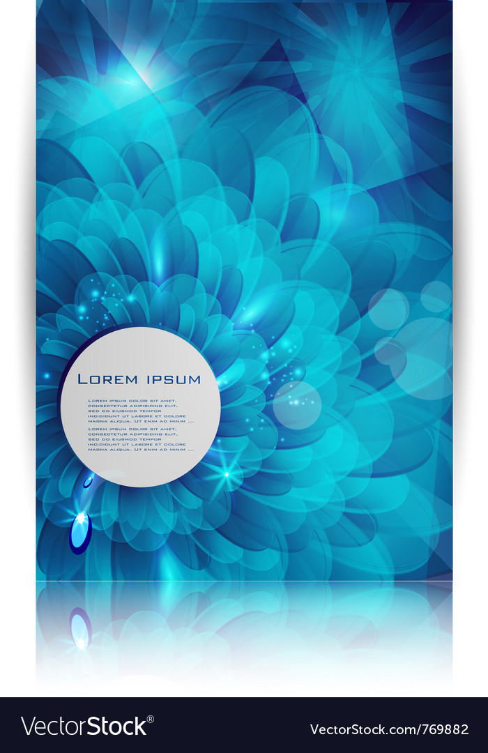 Blue flower card abstract water vector image
