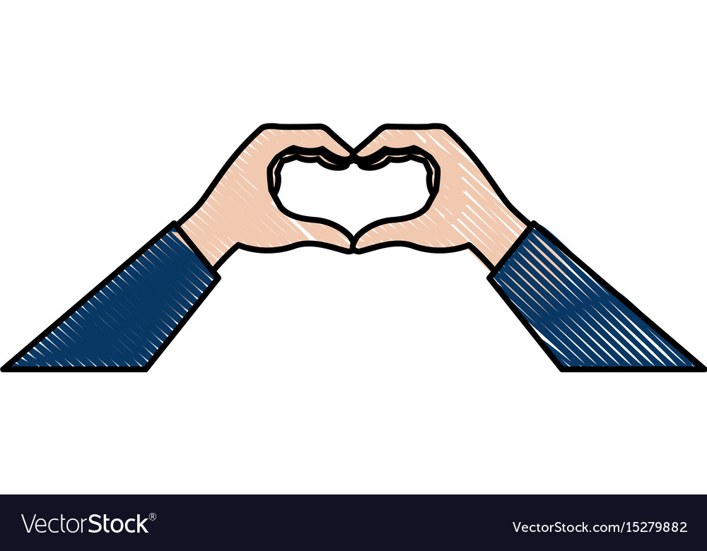 Hands in the form of heart romance vector image