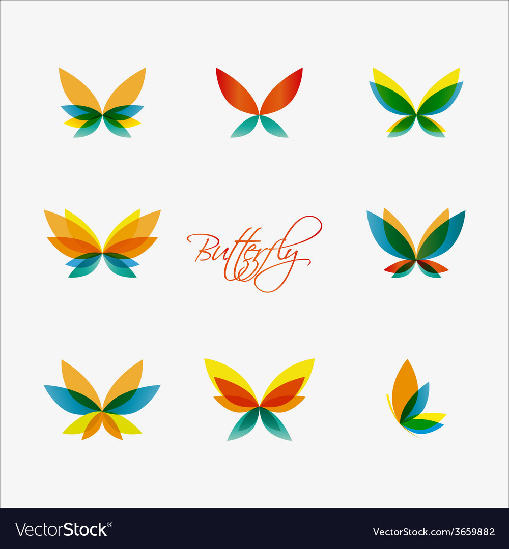 Set of colorful butterflies logos vector image