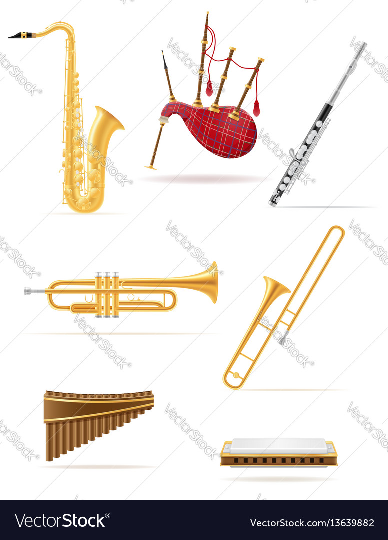 Wind musical instruments set icons stock vector image