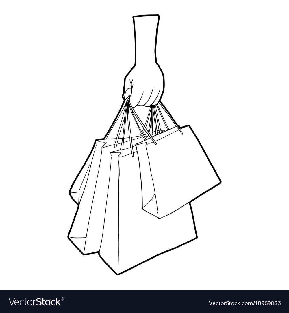 A hand holding shopping bags icon outline style vector image