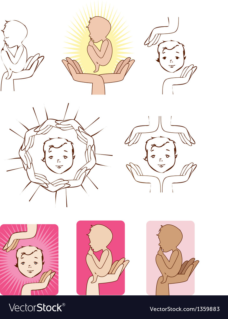 Baby protected by hands icons logo elements vector image