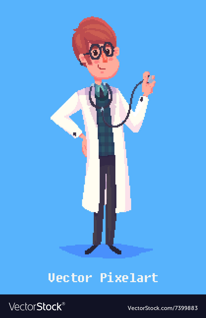 Funny doctor character Isolated on violet vector image