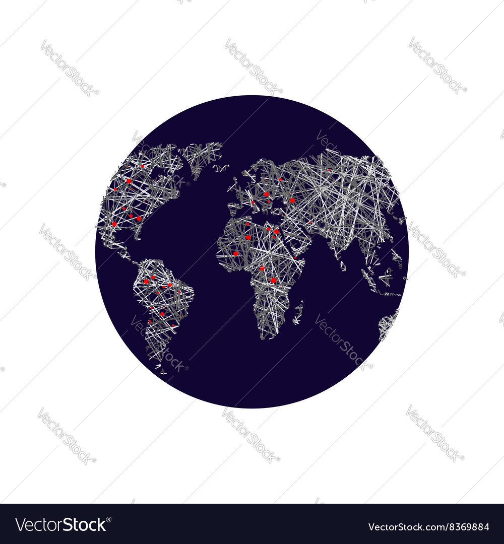 Black earth linear world map red lights capitals vector image gumiabroncs Gallery