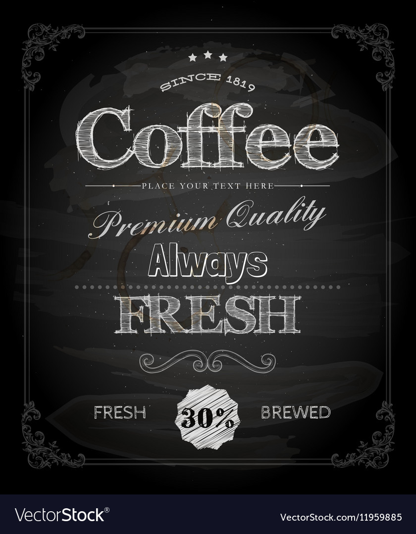 Cafe Poster on Chalk Board vector image