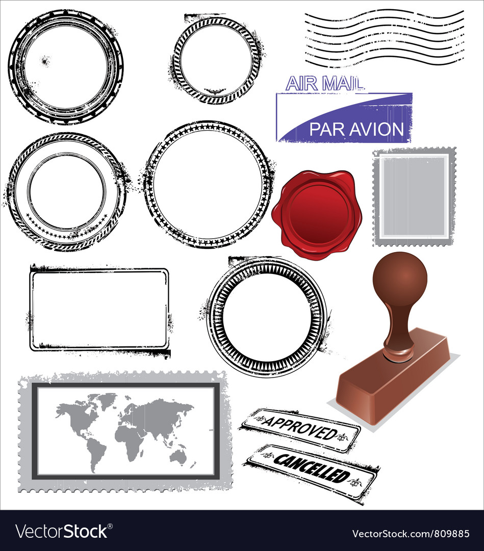 Empty postage stamps rubber stamps and wax seal vector image