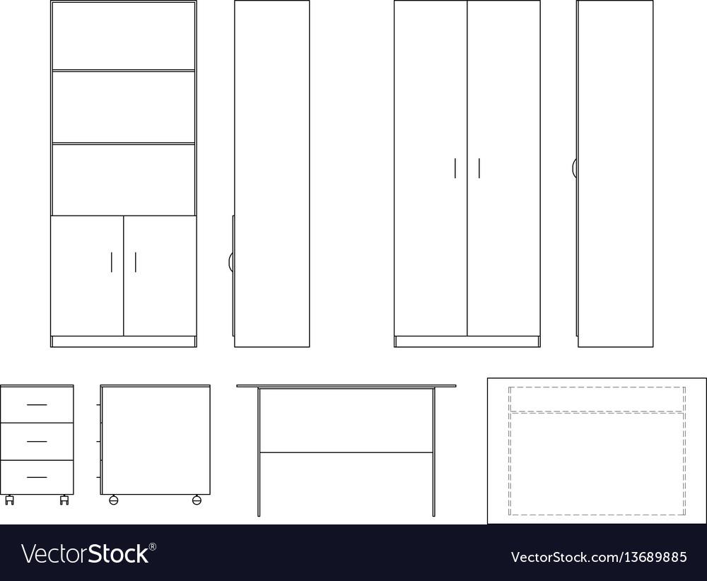 Sketch office furniture vector image