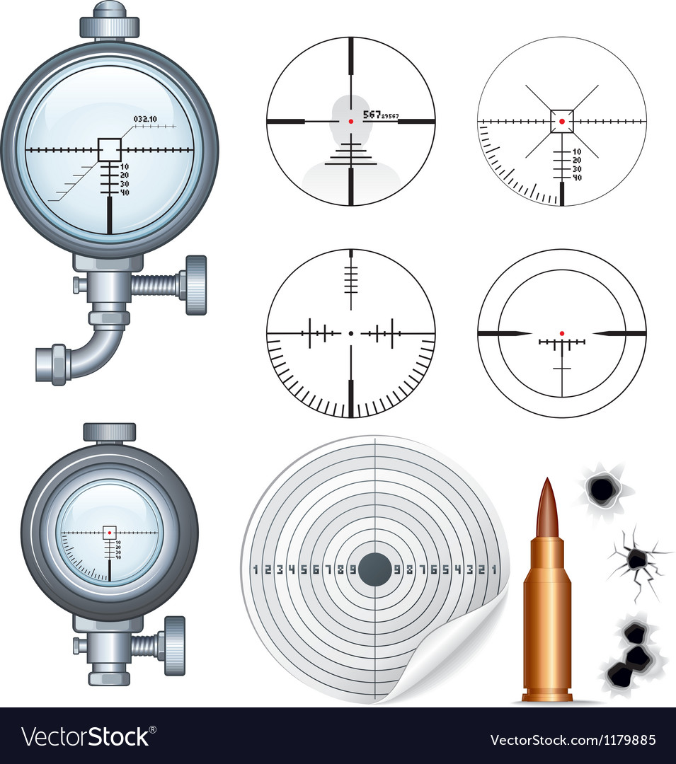 Sniper Scope Target Crosshair Clip Art vector image