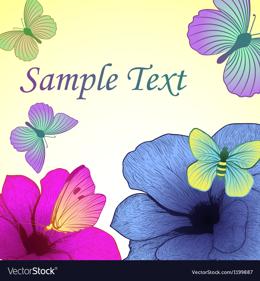 Bright background with flowers and butterflies vector image