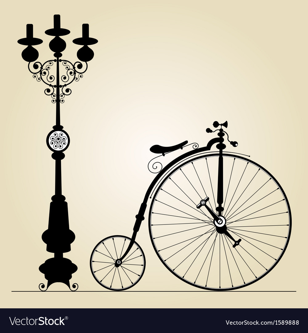 Old bicycle vector image