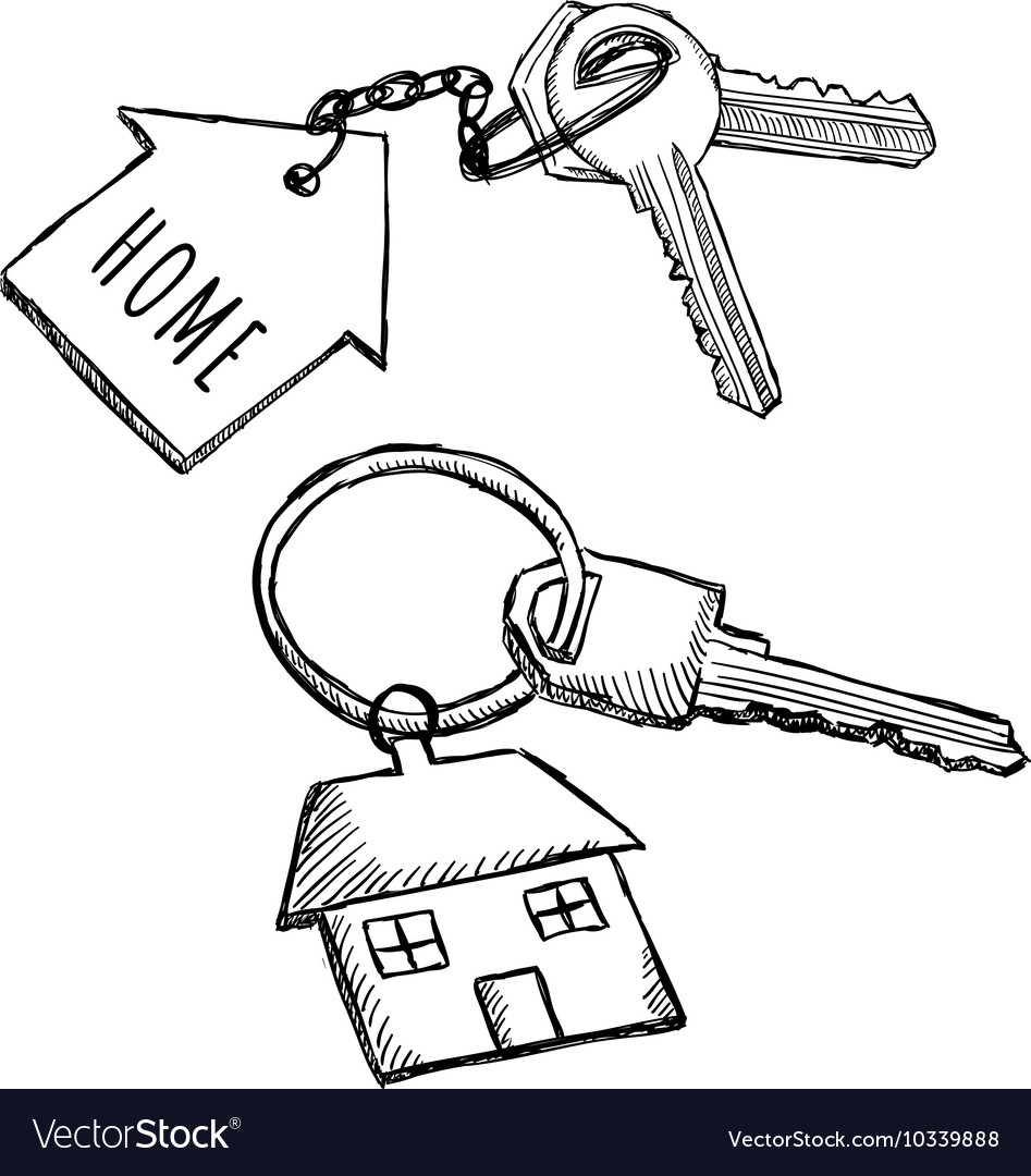 House keychain doodles vector image