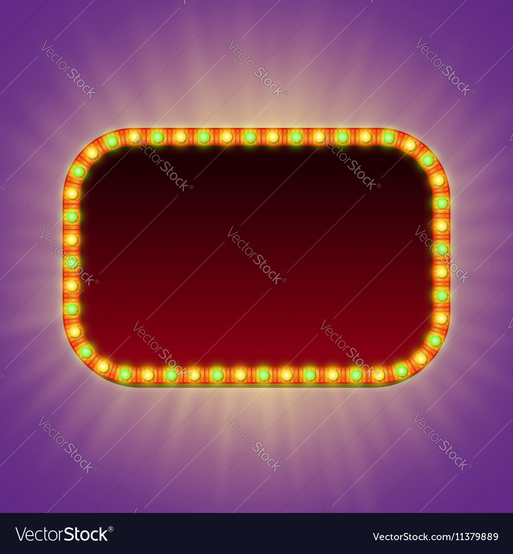 Blank 3d retro light banner with shining bulbs vector image